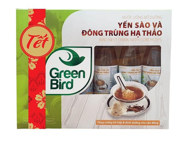 Hộp quà Tết Nước Yến Sào & Đông Trùng Hạ Thảo Green Bird – 6 chai 185ml - Nutri