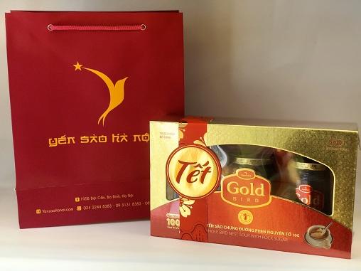 Quà tặng Tết Súp Yến nguyên tổ Gold Bird hộp quà 3 lọ 190gr