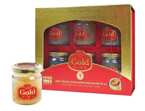 NutriNest - Gold Bird Súp Yến Nguyên Tổ Chưng Đường Phèn Hộp Qùa 6 lọ 190g